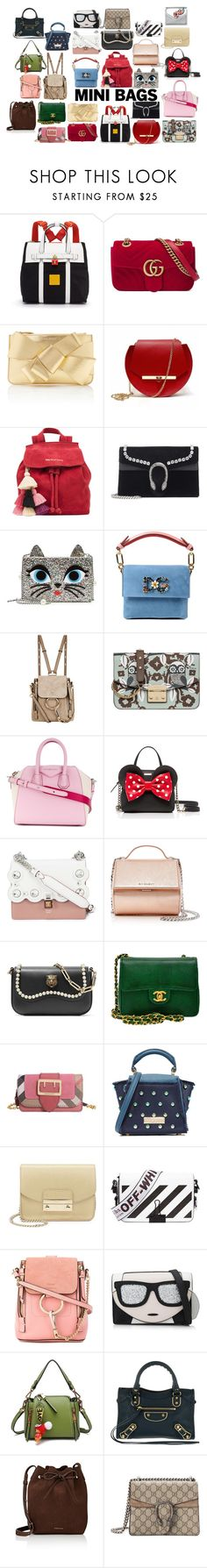"""""""Mini Bags"""" by christinemusal ❤ liked on Polyvore featuring Henri Bendel, Gucci, Delpozo, Angela Valentine Handbags, The Wolf Gang, Karl Lagerfeld, Dolce&Gabbana, Chloé, Furla and Givenchy"""