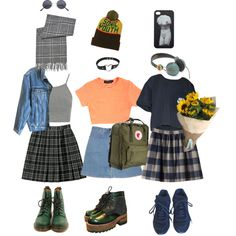 art hoe girl outfits by solitaihre on Polyvore featuring polyvore fashion style NIKE Topshop Calvin Klein Jeans STELLA McCARTNEY Chanel Nana' Dr. Martens FjÄllrÄven BLACK BROWN 1826 Monki R2 arthoe
