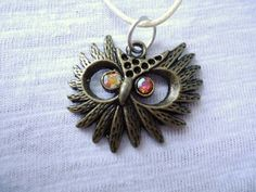 Owl Necklace  Bronze  White Leather by Crystals1LittleShop on Etsy, $10.00