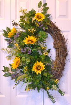 Sunflower Wreath, Home Living, Home Decor, Wreath Hanger, Summer Wreaths, Garden Outdoors, Front Door Wreath, Wall Decor, Door Hanger by GaslightFloralDesign on Etsy