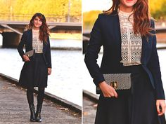 Get this look: http://lb.nu/look/8433867  More looks by Dépêches Mode: http://lb.nu/depeches_mode  Items in this look:  Cache Cache Jacket, Phalaenopsis Skirt, Sacha Shoes Boots   #classic #elegant