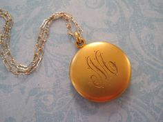 Vintage Locket Solid 14K Gold Round Locket with by SweetheartLane