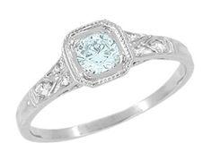 Art Deco Filigree Aquamarine and Diamond Engagement Ring in 18 Karat  White Gold - Item R298WA