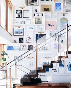 Huge gallery wall above a floating staircase in Soho House Malibu on Thou Swell Soho House Malibu, Malibu Beach House, Soho Beach House, Vintage Industrial Decor, Vintage Modern, Industrial Style, Industrial Design, Industrial Bedroom, Vintage Lighting