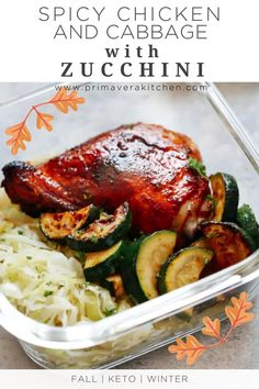 This healthy and easy Spicy chicken and cabbage with zucchini is a meal prep recipe that takes just 15 minutes to prepare! This low carb chicken and vegetables dinner is a quick and easy solution for a busy weeknight. #fall #healthyfallrecipe #mealpreprecipe Best Paleo Recipes, Gluten Free Recipes For Breakfast, Spicy Recipes, Healthy Chicken Recipes, Fall Recipes, Cooking Recipes, Sauteed Cabbage, Chicken And Cabbage, Chicken And Vegetables