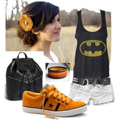 minus the stupid hair flower and hair style that does not match the outfit at all, and the douchy studded belt.  I guess I just like the batman tank and backpack