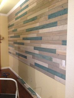 This trend is about to be huge for fall!  Finished project. Lowes carries packs of pine, tongue and groove planks. Each pack covers about 9 feet. Each pack costs under 15 dollars. I needed 150 square feet.