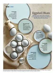 "Eggshell Blue Paint Colors - Invoke peaceful vibes in your nest with hues inspired by blue-tone eggs. Robin's-egg blue is Ontario-based decorator Michael Penney's signature hue. ""Robin's-egg blue is a good beginner color,"" he says. ""We see it in the sky Robins Egg Blue Paint, Robin Egg Blue, Duck Egg Blue Paint Kitchen, Duck Egg Blue Spray Paint, Wall Colors, House Colors, Do It Yourself Design, Paint Colors For Home, Paint Colours"