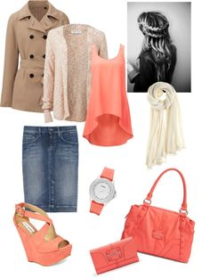 """all about coral!!!"" by leighacox521 ❤ liked on Polyvore"