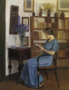 Um autor favorito Poul Friis Nybo (Dinamarca, 1869-1929) óleo sobre tela, 63 x 48 cm