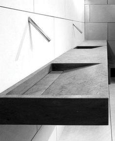 Minimalist Bathroom Decor Ideas Great washing basin in precasted concrete # Minimalist Bathroom, Modern Bathroom, Small Bathroom, Bathroom Ideas, Modern Sink, Bathroom Designs, Minimalist Baths, Stone Bathroom, Bathroom Inspo
