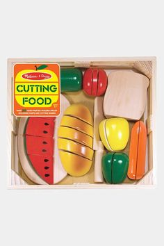 This pretend play food set can provide hours of entertainment for your child. The Cutting Food - Wooden Play Food by Melissa & Doug is tons of fun! Toddler Toys, Kids Toys, Children's Toys, Toddler Crafts, Ikea Duktig, Wooden Play Food, Play Food Set, Melissa & Doug, Recipe Box