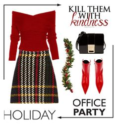 """""""Kill Them With Kindness @ Holiday Office Party"""" by conch-lady ❤ liked on Polyvore featuring Miu Miu and Versace"""