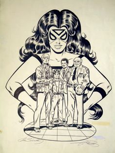 SPIDER-WOMAN ADVERTISING for CARTOON : PIN-UP. Art by George Perez (pencils) & Joe Sinnott (inks).