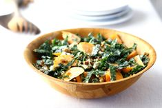 Kale and Persimmon Salad   By theyearinfood   The sweet and crisp qualities of a Fuyu persimmon work really well with the salty and savory notes of blue cheese, walnuts and kale.   Via: food52.com