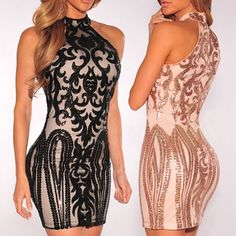 f3b3ca0555 Sexy Sequin Stand Neck Sheath Bodycon Dress