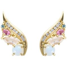 Preowned Daou Art Nouveau Style Phoenix Wing Earrings In Opal,... ($1,671) ❤ liked on Polyvore featuring jewelry, earrings, multiple, stud earrings, opal earrings, gemstone earrings, gemstone stud earrings, gem stud earrings and yellow gold diamond earrings