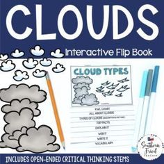 This engaging Cloud Types Interactive Flip Book is an organized student resource that is load with critical thinking stems and questions which makes students really think. It can be used as a stand alone resource or for interactive notebooks. It can be used for so many things...note taking as a class, review, or even assessments. It is also great as a study tool for class and state assessments. #scienceflipbook #clouds #cloudtypes