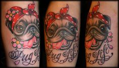 "Pug tattoo by Candy Cane. Of course mine would be an Italian greyhound &"" Iggy Life"".  i like the rock-a-billy look. Cute!"