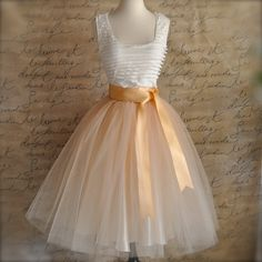 Classic Champagne Beige Tulle Skirt with Chocolate Caramel or Pale Gold Satin Waist. Spring neutral skirt. TutusChic original since 2009.
