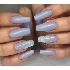 Grey Matte acrylic Coffin/ballerina Nails