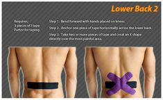 Kinesiology taping instructions for the lower back - Taping - Thera Band Roller Derby, Kt Tape Back, K Tape, Kinesiology Taping, Shin Splints, Massage Benefits, Sports Medicine, Back Pain Relief, Low Back Pain