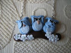Fimo clay necklace, pendant with three owls on a branch, see, hear, speak no evil