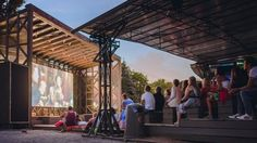 Karo open-air cinema. Muzeon Park, Moscow Theater Architecture, Art And Architecture, Rodeo Decorations, Outdoor Cinema, Smart City, Visual Merchandising, Urban Design, Pergola, Outdoor Structures