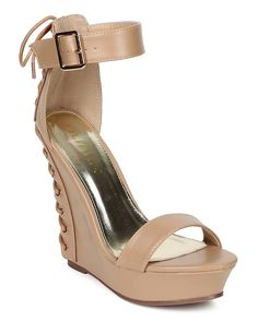 Liliana CE52 Women Leatherette Open Toe Back Lace Up Platform Wedge - Taupe >>> Startling review available here  : Lace up sandals