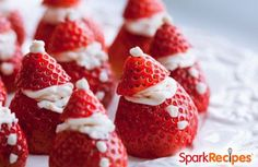 Santa Strawberries (Cream Cheese-Stuffed Strawberry Bites) Recipe by SPARK_RECIPES via @SparkPeople