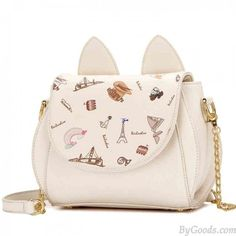 Lovely Cartoon Cat Ear Girl Handbag Chain Strap Kitten Shoulder Bag