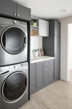 40 Gorgeous Small Laundry Room Design Ideas - Laundry areas, in general, easily end up a place where items are stored, stashed, and procrastinated -- to do later. With small laundry rooms this bec. Laundry Room Shelves, Mudroom Laundry Room, Laundry Room Layouts, Laundry Room Remodel, Laundry Room Cabinets, Farmhouse Laundry Room, Laundry Room Design, Laundry Decor, Diy Cabinets