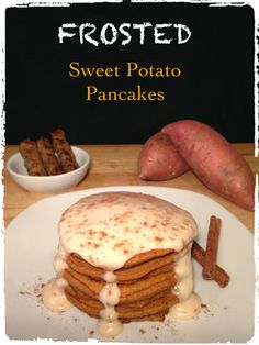 protein frosted sweet potato pancakes - THE FIT BALD MAN