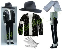 MJ Michael Jackson Billie Jean Suits Sequin Jacket Pants Hat Glove Socks Kids Adults Show Black Sequined Pacthwork 4XS-4XL men style -- Clicking on the image will lead you to find similar product on AliExpress website
