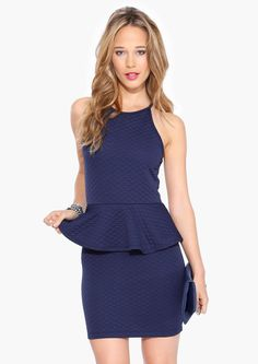 bd3577cb03d1 Quilted Peplum Dress in Navy Outfits 2014