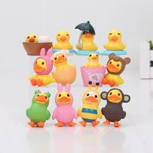 12pcs/set Yellow Duck Figure Action Doll Duck Kids Gifts Duck mini PVC figure collection doll toys(China (Mainland))