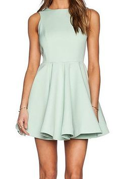 Solid Color Backless Dress