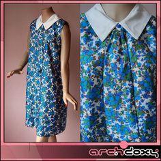 Vintage 1960's Carnaby Street Printed Twiggy MOD Floral Kipper Tie Dress Size 12
