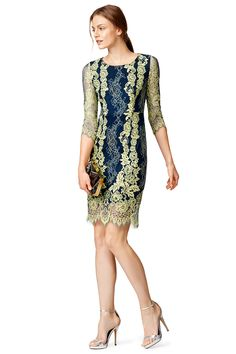 Key Lime and blue Lace Sheath Dress by ERIN erin fetherston | RTR