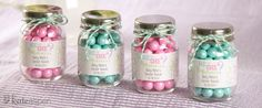 Baby Shower Favor Idea:  Recycling baby food jars to make favors like this for a baby shower might be neat.
