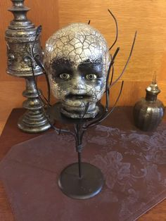 Creepy Dolls Head Desk Tidy Horror Decor Brush Holder Horror Doll