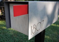 Image of: Mid Century Modern Mailbox Numbers Contemporary Mailboxes, Box Design, House Design, Design Ideas, Cool Mailboxes, Residential Mailboxes, Modern Mailbox, Modern Landscaping, Landscaping Ideas