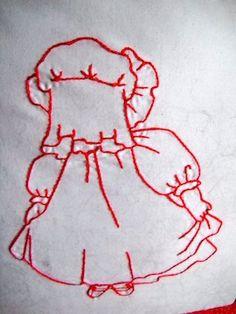 Sunbonnet Babies Redwork Quilt Block