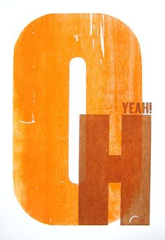 """Oh Yeah!"" illustration in orange 