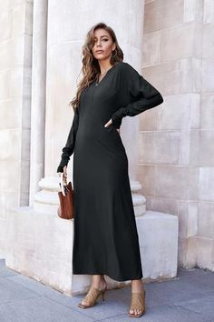 Solid Color Slit Pinafore Dress– Pavacat Denim Bodycon Dress, Laced Up Shirt, Straight Dress, Pinafore Dress, Types Of Dresses, Dress With Bow, Long Sleeve Sweater, Types Of Sleeves, Knit Dress
