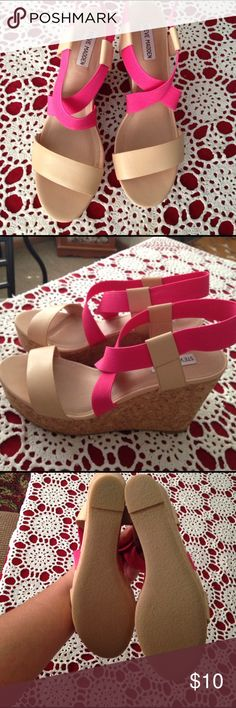 Tan strapped wedges Size 10. Never worn. Steve Madden Shoes Wedges