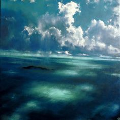 Take me to the Island XIII, John O'Grady - 20″ x 20″ x 1.75″ oil on deep edge canvas, available on my website. An atmospheric painting of the west of Ireland sea front with large cumulus clouds lit by the sun casting shadows and light on the sea.