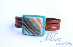 Bijoux unique pour lêtre aimé ou pour vous faire un petit cadeau. Bracelet en cuir véritable, teint et peint à la main. Je réalise chaque étapes
