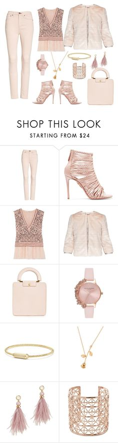 """Blush Outfit Only"" by sherrysrosecottage-1 ❤ liked on Polyvore featuring rag & bone/JEAN, Aquazzura, Ganni, Ted Baker, Madewell, Olivia Burton, David Yurman, Lizzie Fortunato and Co.Ro"