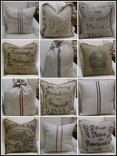 burlap pillows- Plus this site has tons and tons of burlap ideas on it.